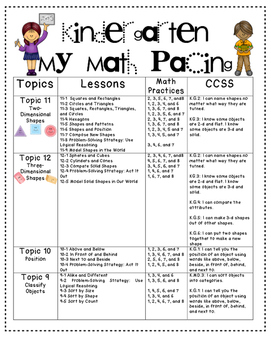 """My Math"" Pacing Plan by Kinder league"