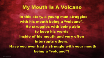 """My Mouth Is A Volcano"" Lesson w 2 Video links & Activity Blurting Self Control"