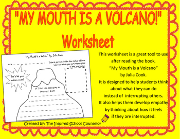 """""""My Mouth Is A Volcano"""" worksheet - a lesson on listening and not interrupting"""