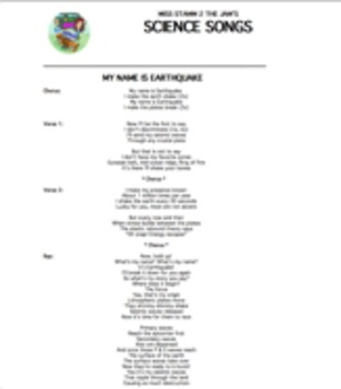 """My Name Is Earthquake"" Lyric Sheet, Worksheet, and Answer Key"