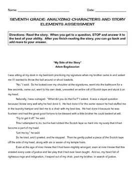 """""""My Side of the Story"""" - CCSS Reading Assessment - 7th"""