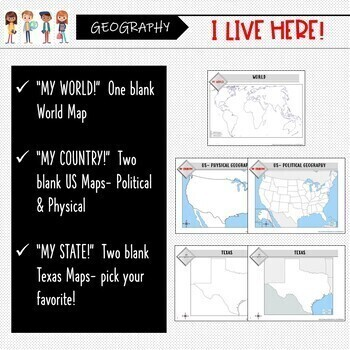 Texas Map Activity- 'My World, My Country, My State'!  (Label and Color maps)