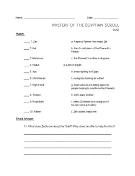 """""""Mystery of the Egyptian Scroll"""" Discussion Questions and QUIZ"""