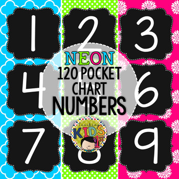 {NEON} 120 Pocket Chart Numbers