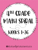 *NEW* 4th Grade Math Spiral Review BUNDLE (Weeks 1-36)