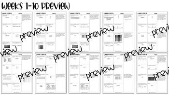 *NEW* 4th Grade Math Spiral Review (Weeks 1-10)