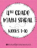 *NEW* 4th Grade Math Spiral Review (Weeks 1-10)