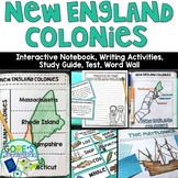 New England Colonies Interactive Notebook, Writing Activities, and Test