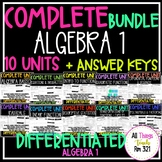 **NEW ALGEBRA 1 - NO PREP FULL CURRICULUM + DIFFERENTIATED - 10 Units + Ans Kys