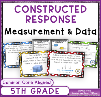 Common Core Constructed Response Problems - 5th Grade Meas