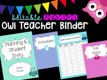 Editable Owl-Themed Teacher Binder (Pastel)