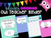 Editable Owl-Themed Teacher Binder (Pastel)