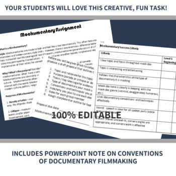*NEW* 'Mockumentary' (Mock-Doc) Group Assignment in Media Studies