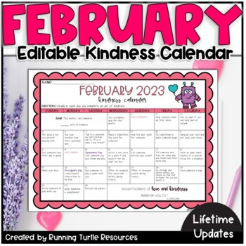 February 2020 Kindness Calendar February Kindness Calendar *Editable* (UPDATED for 2020) | TpT
