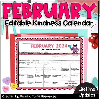 Kindness Calendar 2021 February Kindness Calendar *Editable*   Updated for 2021   TpT