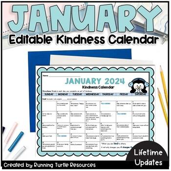 January Kindness Calendar *Editable* | Updated for 2021 | TpT
