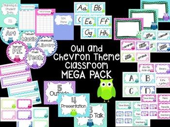 Owl and Chevron Theme Classroom MEGA PACK