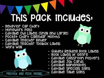 Owl and Chevron Theme Classroom MEGA PACK
