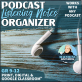 ⭐Podcast Listening Log Graphic Organizer Notetaking with Prompts and Rubric