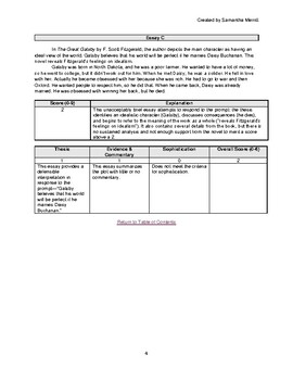 *NEW RUBRIC* AP Lit 2019 Q3 Sample Gatsby Essays with Scores and Rationale