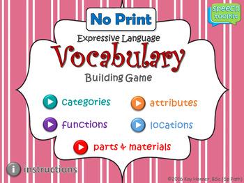 NO PRINT Expressive Language Vocabulary Game