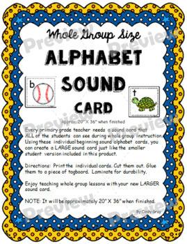 **NEW**  Whole Group Size Alphabet Sound Card