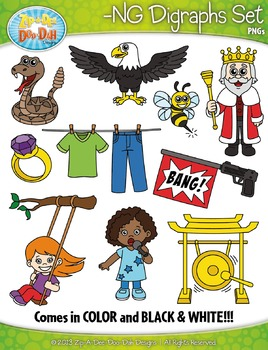 -NG Digraphs Words Clipart {Zip-A-Dee-Doo-Dah Designs}