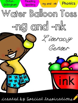 -NG and -NK Balloon Toss Literacy Center (Orton-Gillingham)
