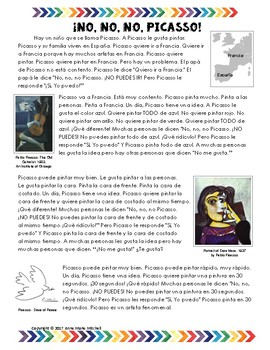 ¡NO, NO, NO, Picasso! - Spanish reading in present and past tense