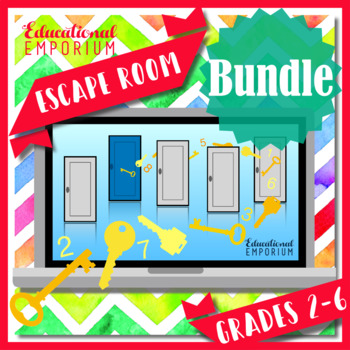 ⭐ NO PREP ⭐ 3rd-6th Grade Math Escape Rooms BUNDLE ⭐ ULTIMATE GROWING BUNDLE