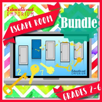 ⭐ NO PREP ⭐ 3rd-6th Grade Math Escape Rooms BUNDLE ⭐ ULTIMATE ESCAPE BUNDLE
