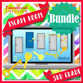⭐ NO PREP ⭐ 3rd Grade Math Escape Rooms BUNDLE ⭐ GROWING BUNDLE