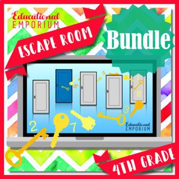 ⭐ NO PREP ⭐ 4th Grade Math Escape Rooms BUNDLE ⭐ GROWING BUNDLE