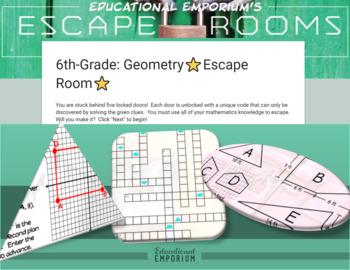 ⭐ NO PREP ⭐ 6th Grade Math Escape Room ⭐ Geometry ⭐