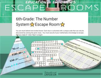 ⭐ NO PREP ⭐ 6th Grade Math Escape Rooms BUNDLE ⭐ GROWING BUNDLE