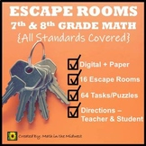 ⭐NO PREP 7th & 8th Grade Math Escape Rooms Bundle⭐Distance Learning