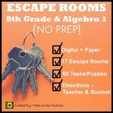 ⭐NO PREP 8th Grade & Algebra 1 Math Escape Rooms Bundle ⭐
