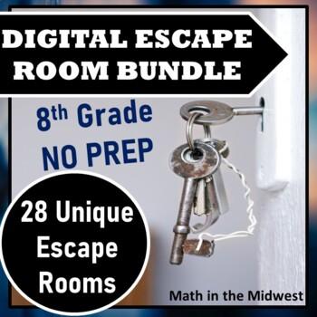 ⭐NO PREP 8th Grade Math Escape Room Mega Bundle⭐ALL STANDARDS