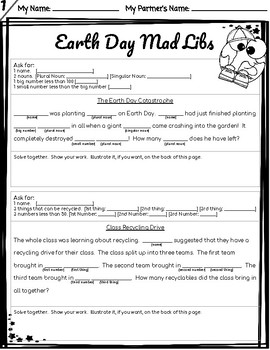 *NO PREP* Earth Day Math Word Problem Mad Libs - Add/Subtract
