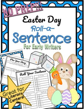 *NO PREP* Easter Day Roll-a-Sentence Literacry for Early Writers