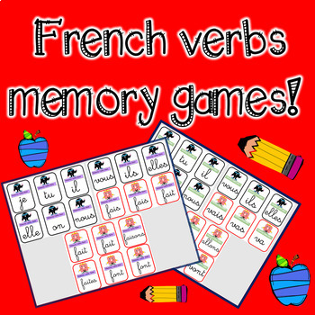 *NO PREP* FRENCH VERB MEMORY GAMES Ready to use  / Editable
