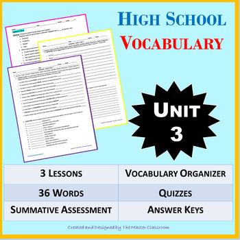NO PREP High School Vocabulary (4 weeks) - Unit 3