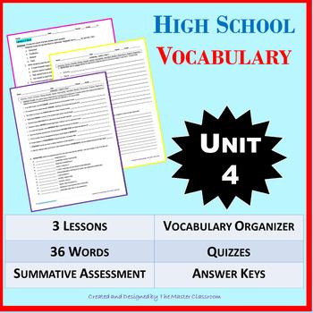 NO PREP High School Vocabulary (4 weeks) - Unit 4