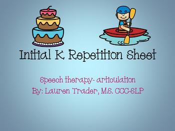 *NO PREP* Initial K Repetition Sheet