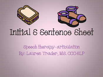 *NO PREP* Initial S Sentence Sheets