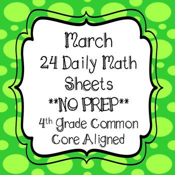 March Math Worksheets 4th Grade Common Core Aligned No Prep Tpt