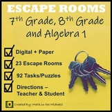 ⭐NO PREP Middle School Math Escape Rooms Bundle {7th, 8th, and Algebra 1}⭐