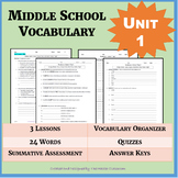 NO PREP Middle School Vocabulary (4 WEEKS) - Unit 1