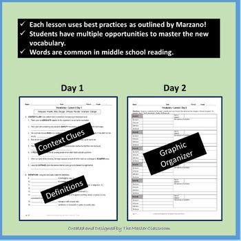 NO PREP Middle School Vocabulary (4 WEEKS) - Unit 1