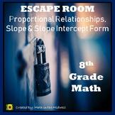 ⭐NO PREP Proportional Relationships, Unit Rate, Slope Intercept Form Escape Room